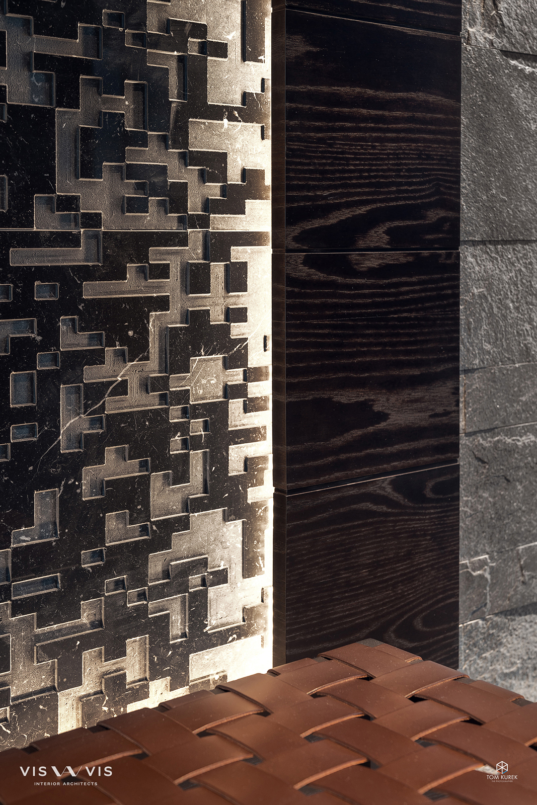 Detail of the custom textures in stone and leather.
